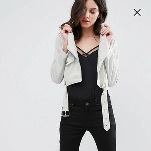 Missguided Petite Faux Suede Biker Jacket US2